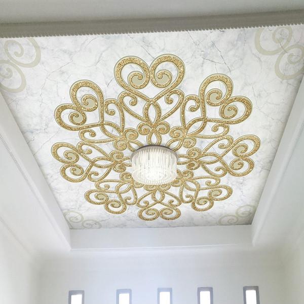 Custom 3D Mural European Style Marble Texture 3D Stereo Relief Ceiling Wallpaper For Living Room Hotel Restaurant Luxury Fresco