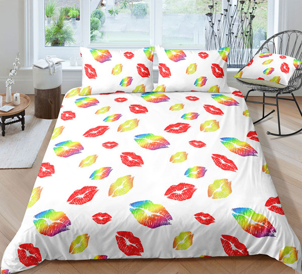 Thumbedding Fashionable Colorful Lip Print Bedding Sets For Kids Twin Full Queen King Unique Design 3D Duvet Cover Set with Pillowcase 3pcs
