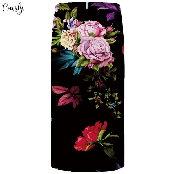 Flower Skirts Women Black Colorful Straight Party Skirts Casual Floral 3D Print Skirt Pencil Funny Ladies Skirts Womens
