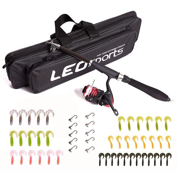 1.3/1.6 m mini portable fishing rod lure spinning wheel 42pcs soft bait 10pcs lead head hooks line gear set fishing tools thumbnail