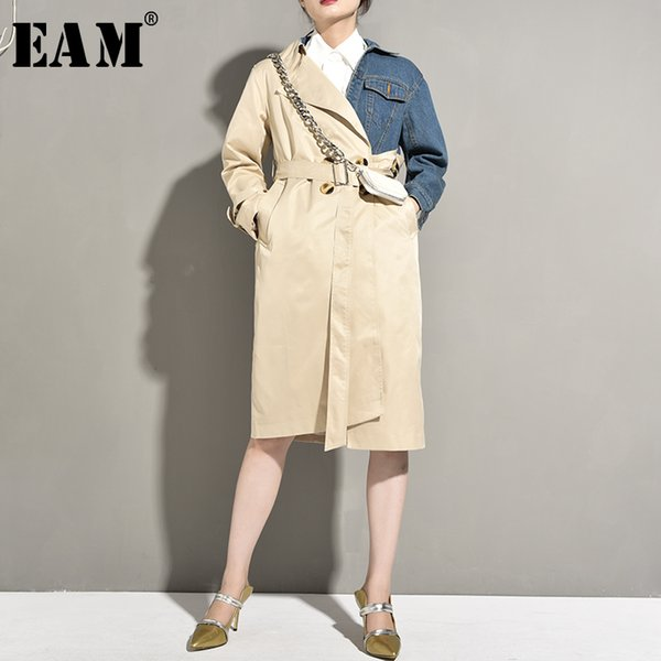 eam] 2019 new autumn winter lapel long sleeve hit color khaki denim irregular stitch long jacket women coat fashion tide ye537, Black;brown