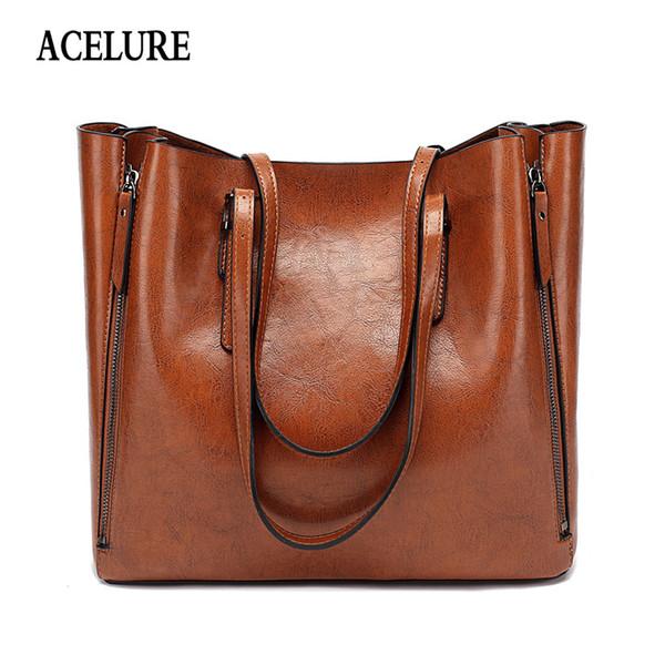 Acelure famoso marchio borsa donna pu borsa a tracolla in pelle casual grande capacità top-handle secchio borsa semplice stile solido totes Y19052402