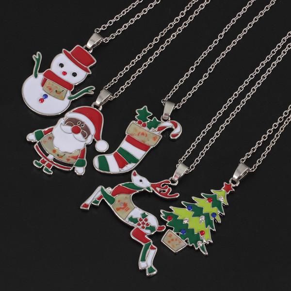 Weihnachten artikel schmuck kreative farbe tropfen öl hirsch schneemann halskette schneemann weihnachtsbaum anhänger fabrik direktverkauf