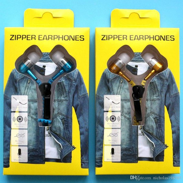 Hot Sale Earphones Zipper Headset 3.5MM Jack Bass Earbuds In-Ear Zip Earphone Headphone for Iphone Samsung Phone PC MID Ipod MP3 MP4 Player