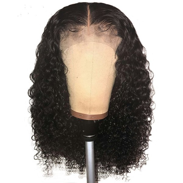 Glueless Kinky Curly Brazilian Human hair Wigs Pre-plucked Hairline Lace front and Full lace Natural Color For Black Women