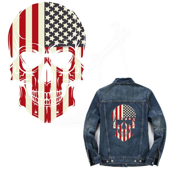 Amerikanische Flagge Schädel 26 * 17cm T-Shirt Kleider Pullover Thermotransferdruck A-Level waschbar Aufkleber Patches für Kleidung