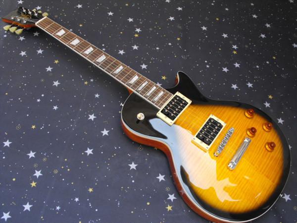 Vendendo 6 cordas conjunto guitarra de uma peça pescoço G L P corpo de mogno cor do sol transporte livre guitarra elétrica