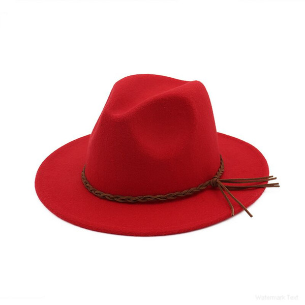 Autumn and winter women's felt flat top hat jazz sombrero hairy cloches cap hats men's imitation wool Fedoras caps Free shipping