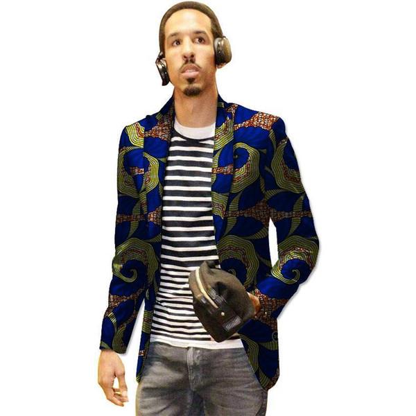 Pop 2019 Casual Men Ankara Blazer Leisure Dashiki Print Suit Jacket Custom For African Party/wedding Formal Man's Outfit