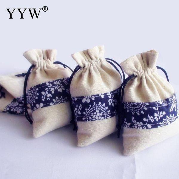 50PCs / Tasche Mode Frauen Schmuck Beutel Taschen Ganze Verkauf Baumwolle Rechteck 100x140mm Geschenk Taschen Schmuck