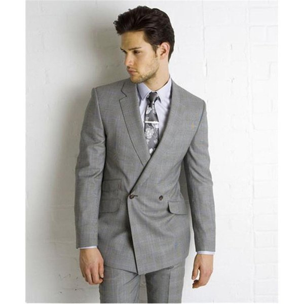 Double Breasted Suit 2019 Custom Made Light Grey Side Vent Slim Fit Men Suit Wedding mens Suits Bridegroom (Jacket+Pants+Tie)