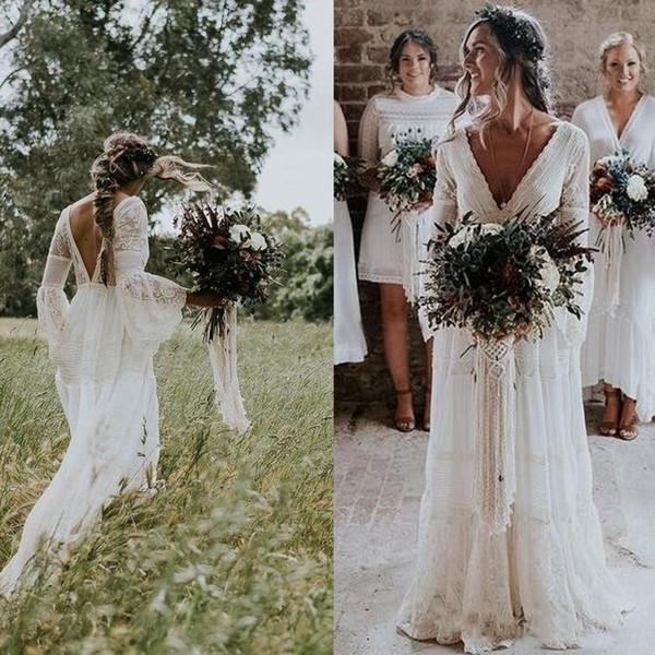 Robes de mariée bohème rustique Hippies col en V manches longues en dentelle dos bas plage Boho jardin pays robes de mariée robe de mariée plus la taille