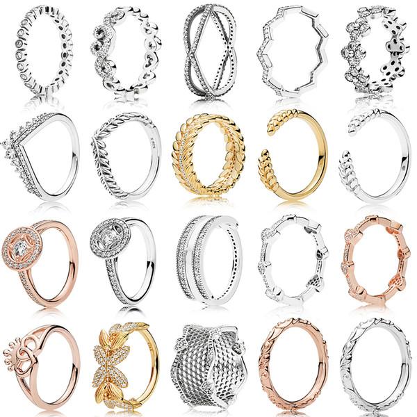 NOUVEAU 100% 925 2019 Argent pandora or rose Sterling Cirage Cercle de graines Dentelle d'amour Bague pour l'Europe Femmes Bijoux Fashion originale