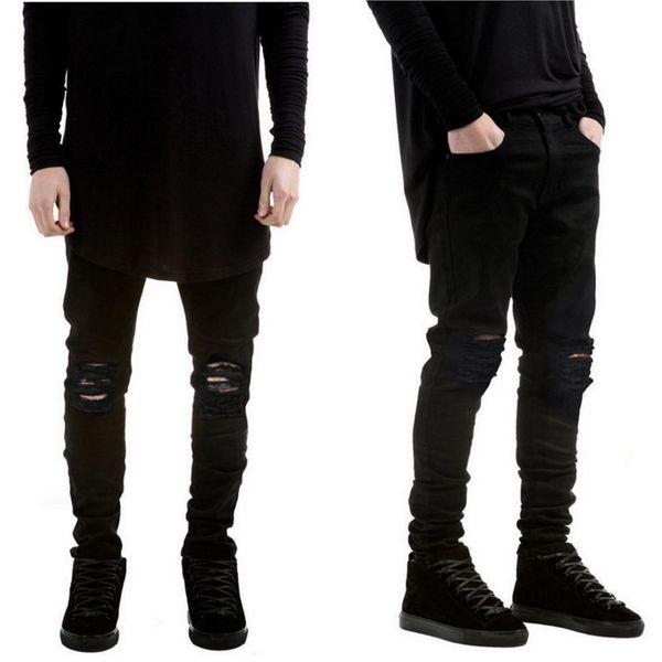 2019 New Black Ripped Jeans Men With Holes Denim Super Skinny Famous Designer Brand Slim Fit Jean Pants Scratched Biker Jeans