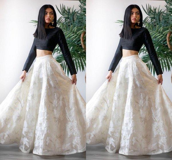 Saudi Arabic Black Girls Evening Dresses Formal Gowns 2019 Long Sleeve 2 Piece A-line Expensive Lace Prom Dress Long Party Women Vestido De
