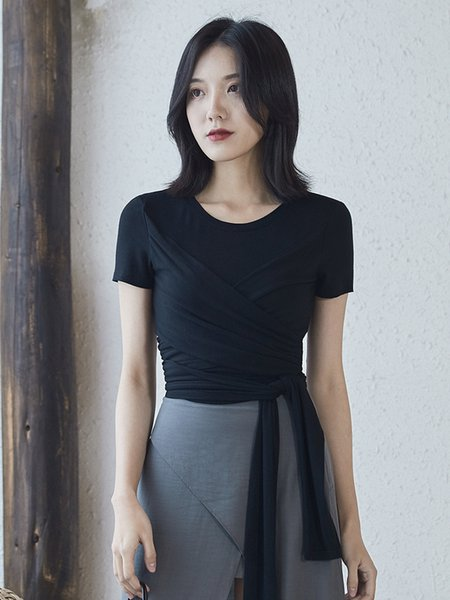 Oukyhta 2019 New T shirt Women Summer Top Korean Fashion Tees Women Crop Tops Vintage Female Short Clothing Solid GGZ19031