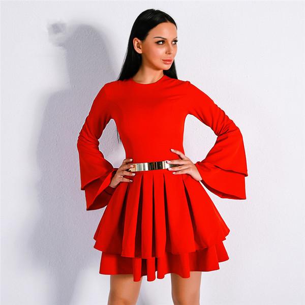 Compre 2018 Elegantes Satinados Rojos Vestidos De Fiesta Cortos Mangas Largas Vestidos De Fiesta De Cóctel Volantes Vestidos Cortos De Fiesta Vestidos