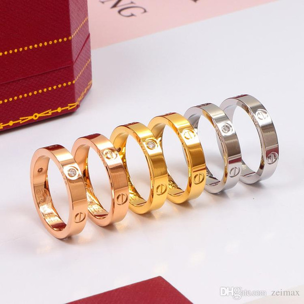 4mm Titanium steel nails rings with CZ diamond lovers Band Rings for Women and Men brand jewelry with original box set