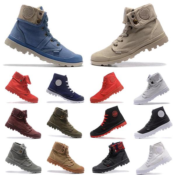 Compre Boots Zapatos De Diseñador Para Hombre PALLADIUM Pallabrouse Hombres High Army Military Ankle Para Hombre Mujer Botas Zapatillas De Lona Zapato
