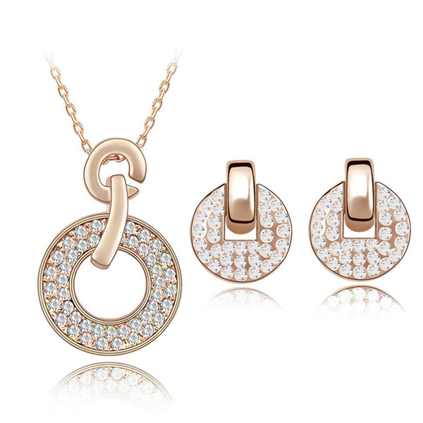 Top Quality Fashion Jewelry Sets Necklace Earrings For Women Colorful Crystal from Swarovski Rose Gold Color Pendants Bijoux Gift