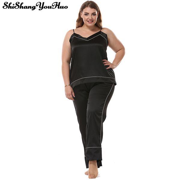 Sexy Spaghetti Plus Size Mulheres Pijama Set Top + Calças de Pijama Mulheres Cetim 3XL Tamanho Grande Nightwear Homewear Sleepwear Treino