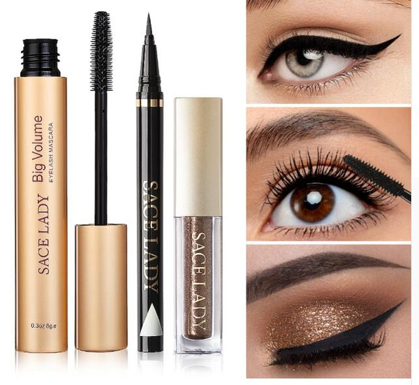 Professional Eye Makeup Set Glitter Eyeshadow Black Eyeliner Mascara Make Up Eye Shadow Kit Brand Waterproof Cosmetic