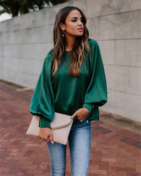 new arrival womens designer tshirt fashion casual solid color lantern sleeve loose tshirt casual womens