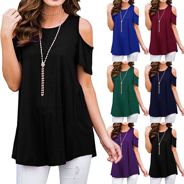 Spring and summer womens shirts new style hot round neck off shoulder short sleeve loose casual women clothes tshirt T-shirt cotton clothing
