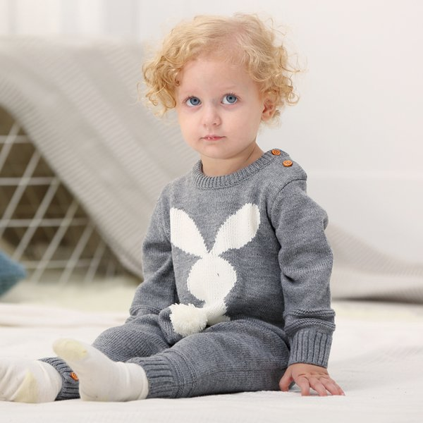 Spring Baby Girl Clothes 3d Rabbit Knit Jumpsuits For Newborns Long Sleeve Toddler Boy Rompers Autumn Infant Funny Overalls 0-2y J190706