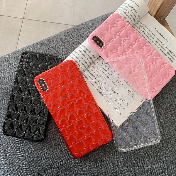 Fashion Cute 3D love Heart girly Phone Case For iPhone X XS XR XS Max 6 6S 7 8 Plus transparent Colorful Soft TPU Back Cove