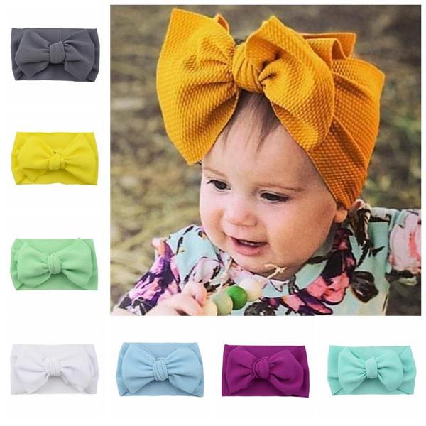 Bebek Knot Kafa Kız Büyük yay saç bantlarında Elastik ilmek Turban Katı Şapkalar Başkanı Wrap Saç Bandı Aksesuarları 20pcs E hairbands