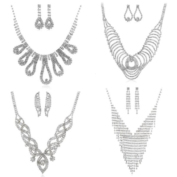 Wedding Party Bridal Jewelry Sets Full Rhinestone Necklace Earrings Set Adjustable Necklace Long Drop Earrings Gifts For Women