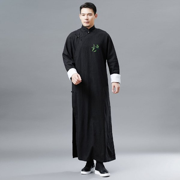 Chinese ancient costume traditional performance stage wear male cheongsam long sleeve tang suit for mens national style men gown