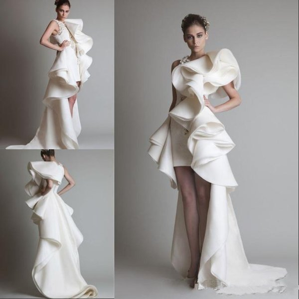 Prom Dresses One Shoulder Appliques Ruffles Sheath Hi-Lo Organza Pageant Dress White Ivory Krikor Jabotian Tiered Bridal Gowns