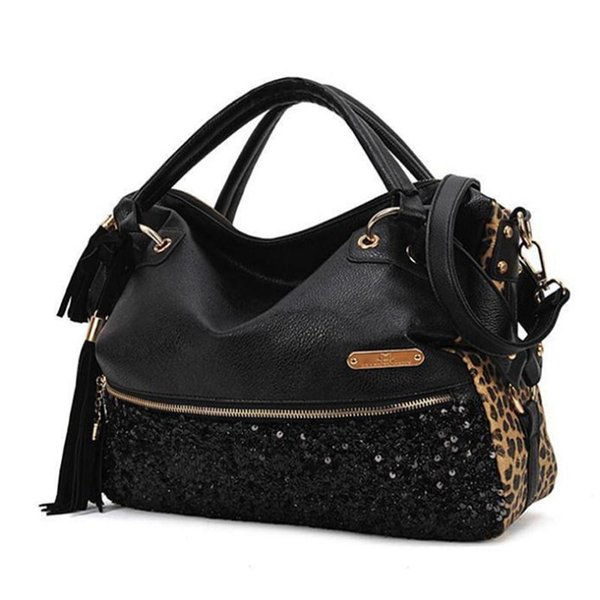 Wholesale- PU Leather Leopard Women Shoulder Bags Pop Women Handbags Luxury Women Bags Famous Brands Female Tote Clutch Bags C1521M
