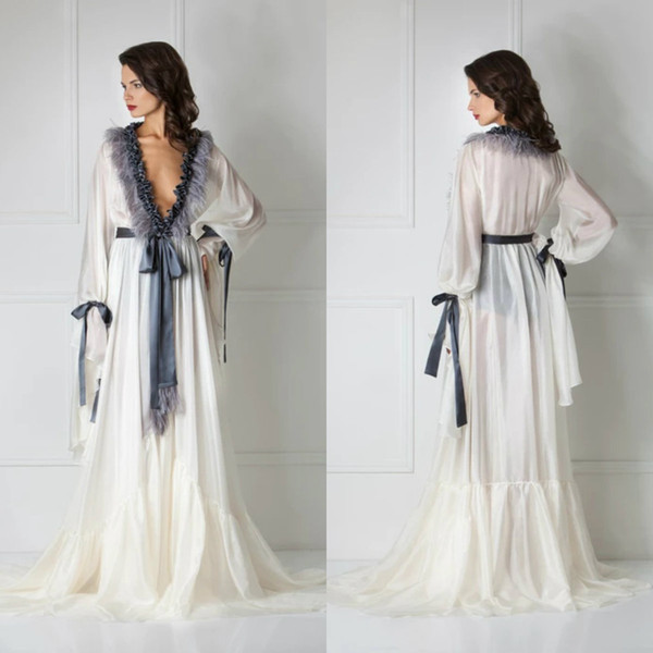 Silk Bathrobe for Women Cuff Full Length Lingerie Nightgown Pajamas Sleepwear Women's Luxury Dressing Gowns Housecoat Nightwear Lounge Wear