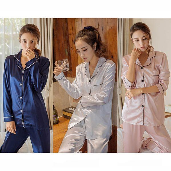 Pijamas De Cetim De Seda das mulheres Conjunto de Pijama Pijama Pijama Pijamas de Manga Longa Terno Feminino Sono Conjunto de Duas Peças Loungewear Plus Size