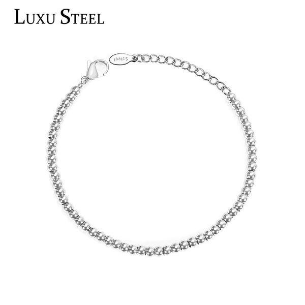 LUXUSTEEL 4mm Silver Ball Beaded Bracelets For Women/Men Stainless Steel Lobster Clasp Extender Chain Bracelets Wholesale