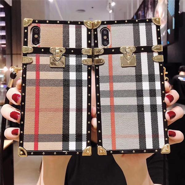 Ein stück luxus iphone xr telefon case high end für iphone 7 8 plus mode gitter designer impressum rückseitige abdeckung mit lanyard