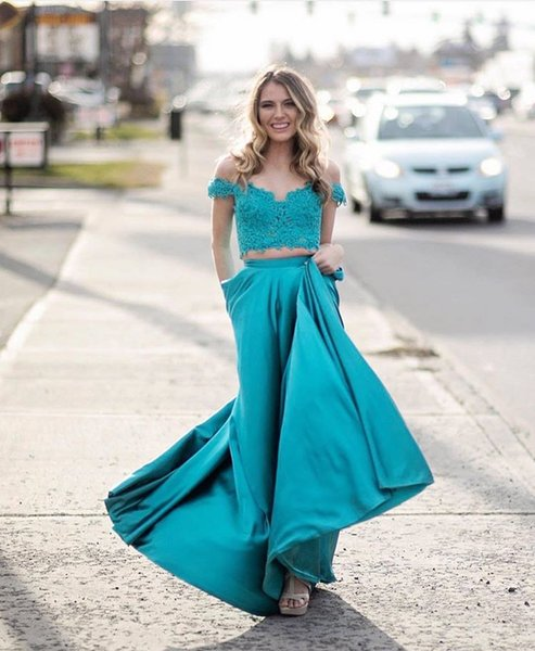 New Arrivals Two Pieces Teal Prom Dress 2019 Evening Gowns Applique Lace A  Line With Short Sleeves Cheap Formal Party Dress Plus Size Short Plus Size  ...