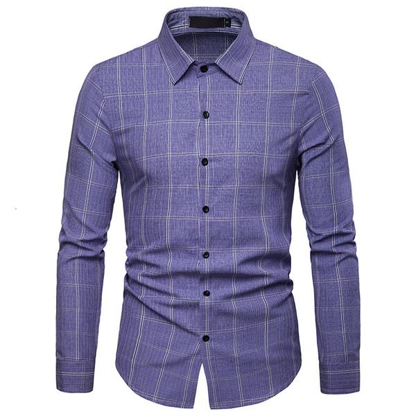 2019 Yeni İlkbahar Sonbahar Moda Marka Erkek Clotheing Slim Fit Erkekler Uzun Kollu Gömlek Erkekler Ekose Casual Erkek Gömlek Sosyal Artı boyutu