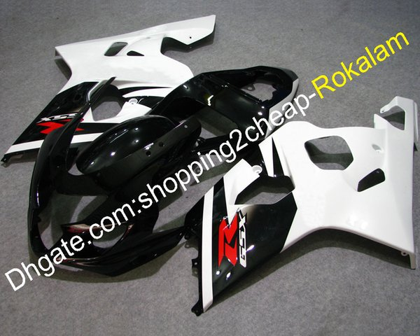 Cowlings For Suzuki GSX-R 600/750 2004 2005 Parts GSXR600 GSXR750 White Black ABS Plastic Motorcycle Fairings K4 04 05 (Injection molding)