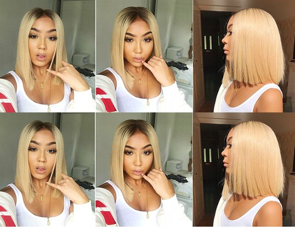 Ombre Blonde Lace Front Wigs for Black Women Peruvian Straight Remy 1b/613 Short Bob Human Hair Wigs Pre Plucked Baby Hair