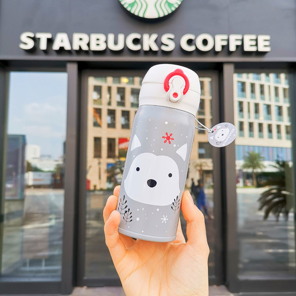 Bicchiere Starbucks THERMOS Siberian Husky in acciaio inossidabile argento con ventosa per sport zodiac Tumbler 355ml per caffè