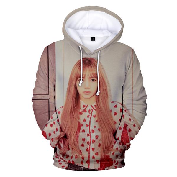 Personalidade da moda coreano ídolo BlackPink 3D Hoodies dos homens Kpop camisola 2019 estilo casual Quente PretoPink 3D Hoodies Mulheres