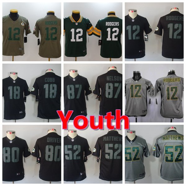 get cheap 22b8d 84ae9 New Youth Green Bay Packers Boys Football Jersey 87 Jordy Nelson 52 Clay  Matthews 12 Aaron Rodgers Color Rush Stitched Kids Football Shirts Party ...