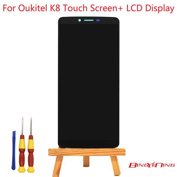 BingYeNing Oukitel K8 Için Yeni Orijinal Dokunmatik Ekran + LCD Ekran Meclisi Değiştirme
