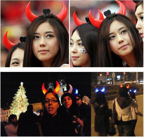 Halloween Led Devil Horns Lights Cheering Rave Toys Flashing Hair Clip HeadBand Light-emitting Hairpin Decoration 100 p