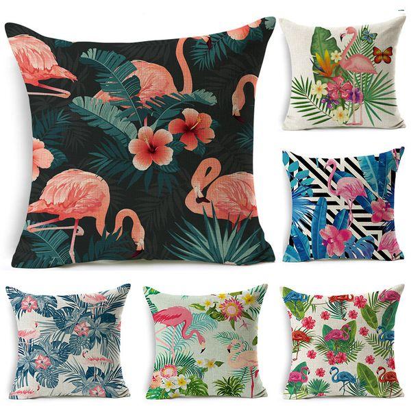 Nordic Flamingo Tropical Leaf Cushion Cover Flower Polyester Throw Pillow Home Decoration Sofa Decorative Pillowcase 45*45cm