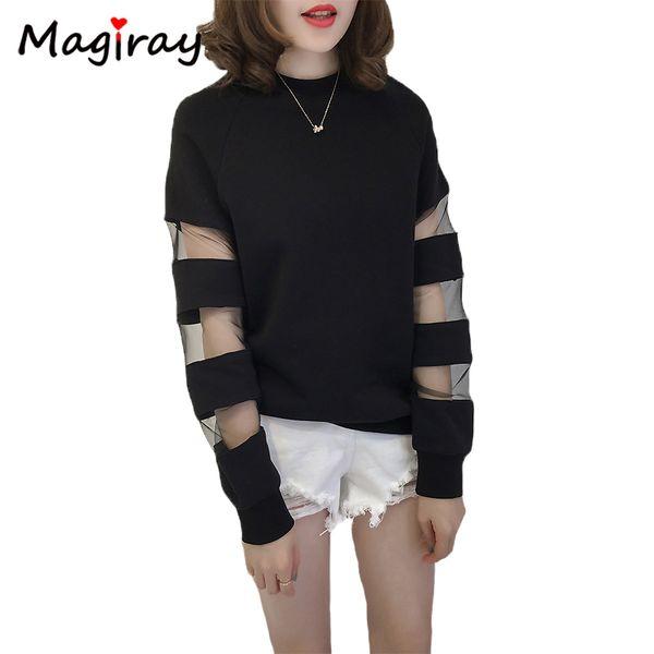 Magiray Manga Comprida Renda Coreana T Camisa Das Mulheres Camiseta Preto Branco Sheer Harajuku Plus Size Tshirt Top Feminino C150 Y19042101